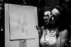 drawing with bride
